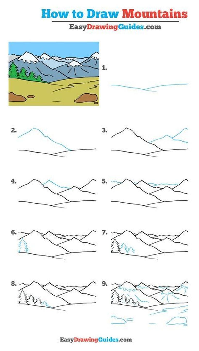 paisajes montañosos dibujos fáciles paso a paso a lápiz para colorear montaña con nieve y pinos