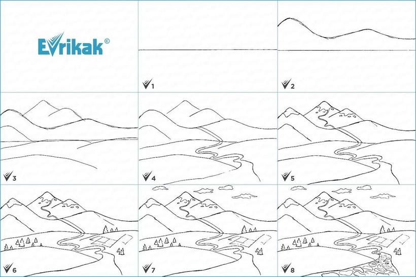 paisajes de montaña dibujos fáciles paso a paso a lápiz para colorear montañas con nieve y arroyo