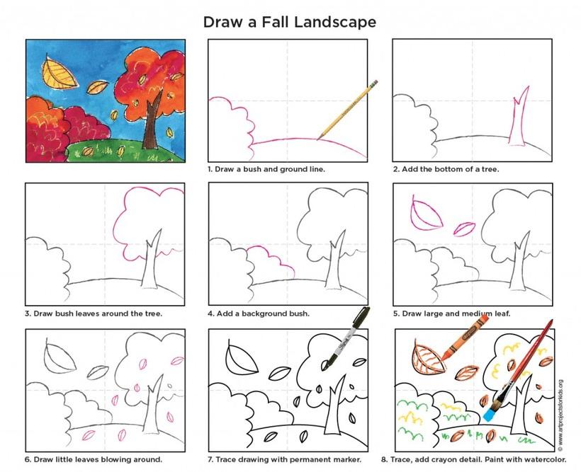 paisajes otoñal dibujos fáciles paso a paso a lápiz para colorear pintar con acuarela árboles en otoño hojas cayendo