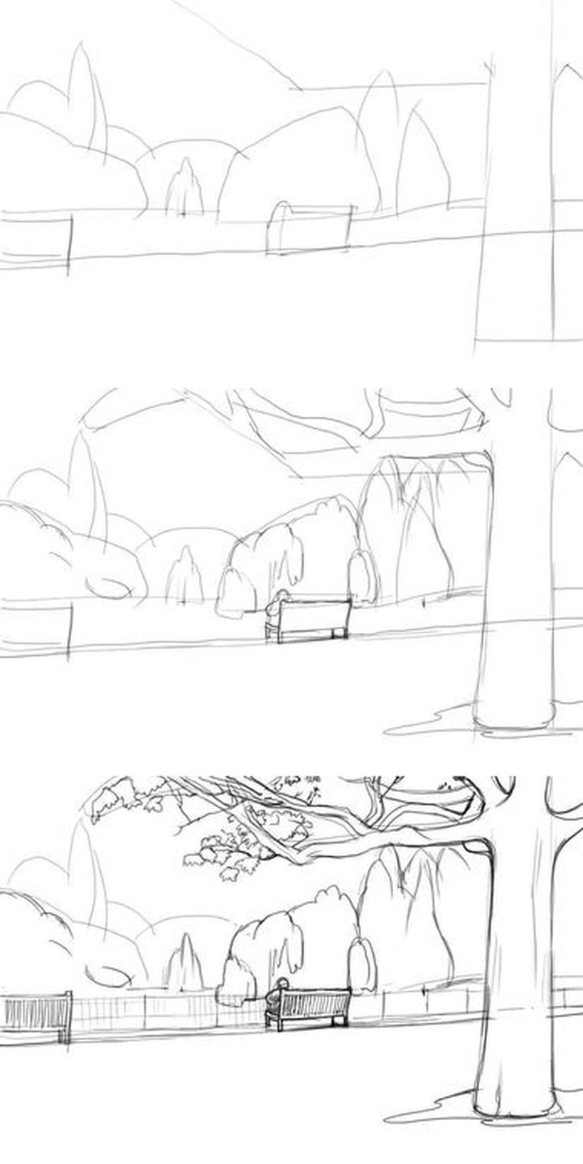 paisajes urbanos dibujos fáciles paso a paso a lápiz para colorear banco de plaza parque