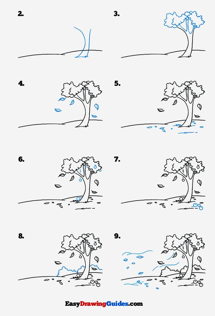 paisajes paisaje otoñal dibujos fáciles paso a paso a lápiz para colorear árboles con hojas cayendo
