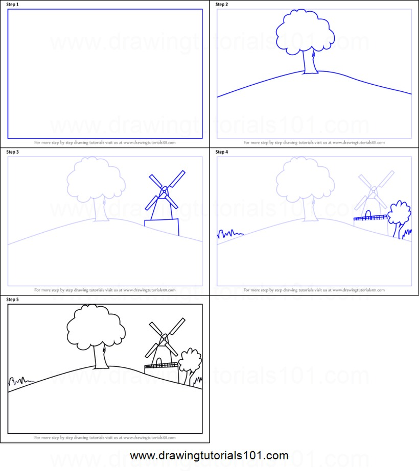 paisajes paisaje dibujos fáciles paso a paso a lápiz para colorear molino y árboles sobre colina