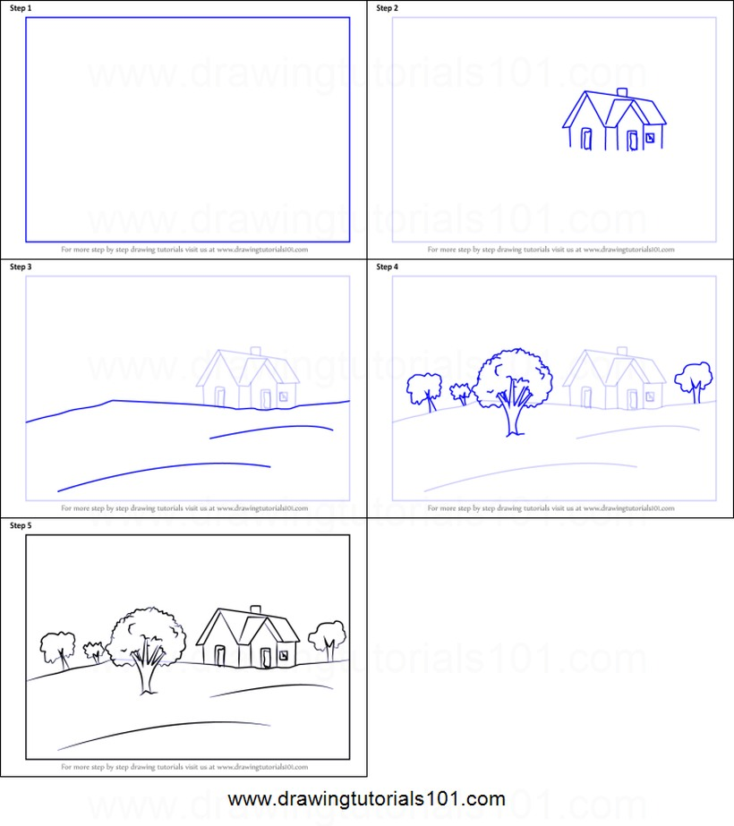 paisajes paisaje simple dibujos fáciles paso a paso a lápiz para colorear casa árboles campo