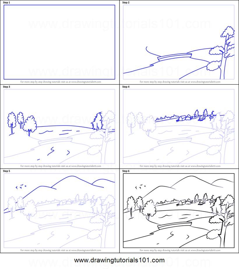 paisajes paisaje al pie de la montaña dibujos fáciles paso a paso a lápiz para colorear casas pueblo árboles campo dique río