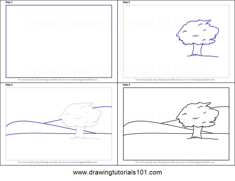 paisajes paisaje con árbol dibujos fáciles paso a paso a lápiz para colorear árboles sobre colinas