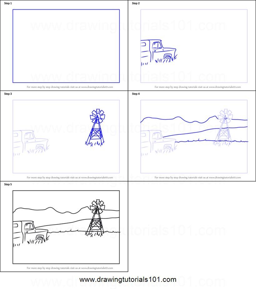 paisajes paisaje de granja dibujos fáciles paso a paso a lápiz para colorear molino y camioneta auto vehículo
