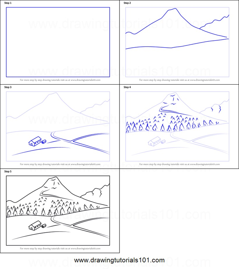 paisajes paisaje de montaña dibujos fáciles paso a paso a lápiz para colorear montañas con pinos y casas