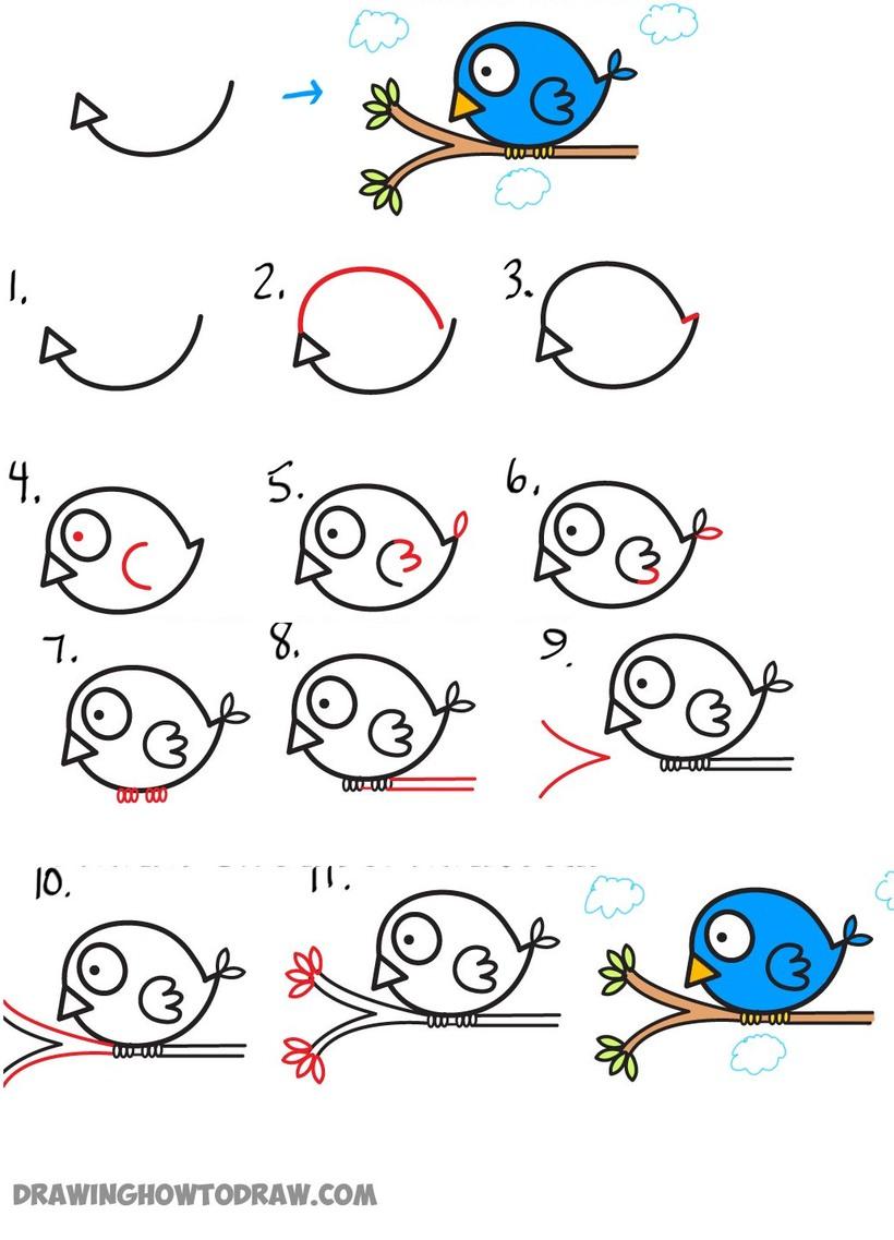 pajarito sobre rama dibujos fáciles de pájaro aves paso a paso a lápiz colorear celeste