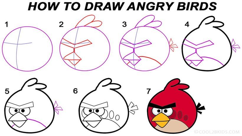 angry birds rojo dibujos fáciles de pájaro aves pájaros paso a paso a lápiz