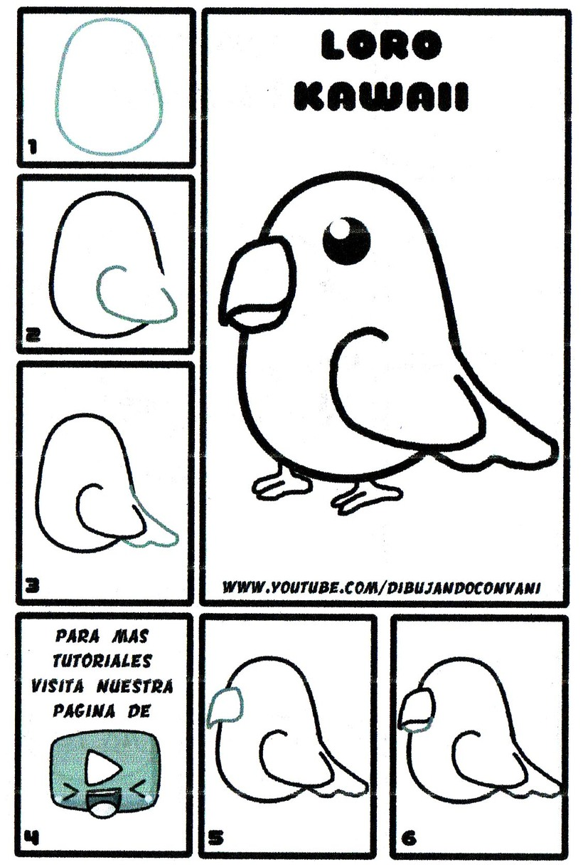 loro kawaii dibujos fáciles de pájaro aves pájaros paso a paso a lápiz
