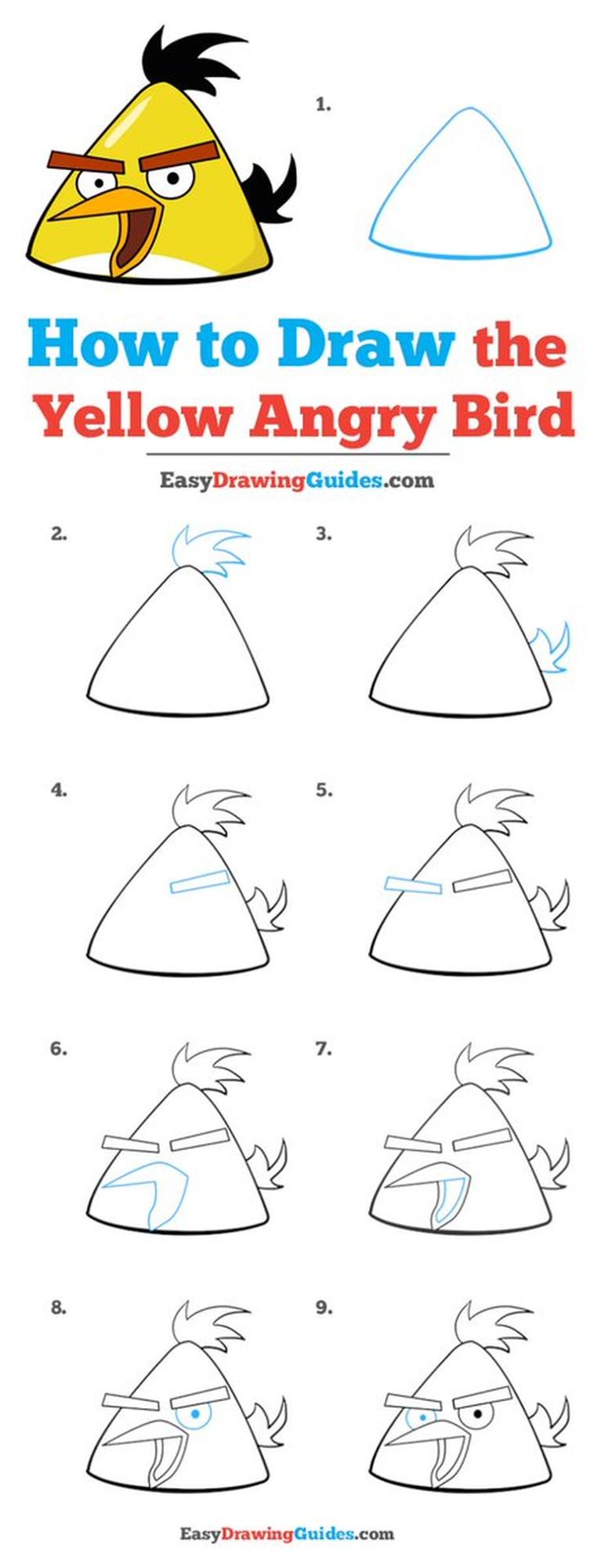 angry birds amarillo dibujos fáciles de pájaro aves pájaros paso a paso a lápiz