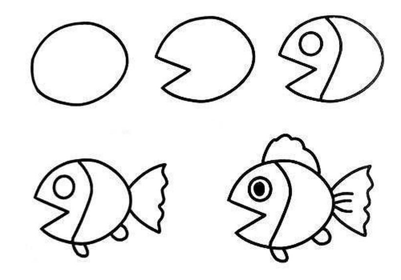 peces pez dibujos fáciles de animales para hacer a lápiz con niños paso a paso