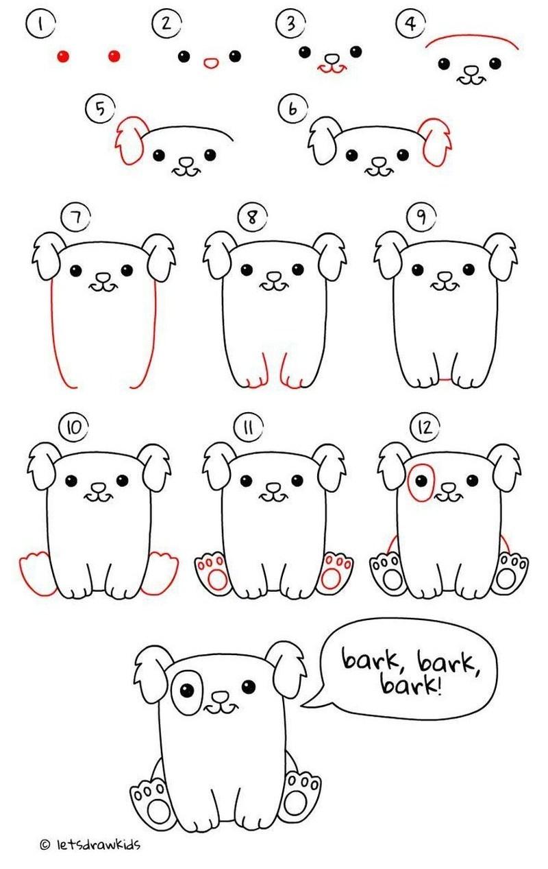 perros dibujo caricatura simple paso a paso