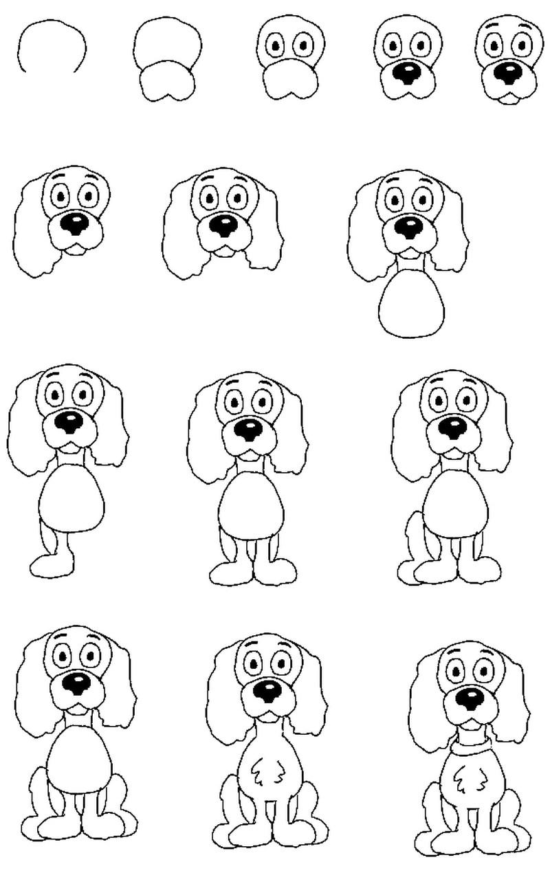 perros dibujo caricatura simple paso a paso perrito tierno