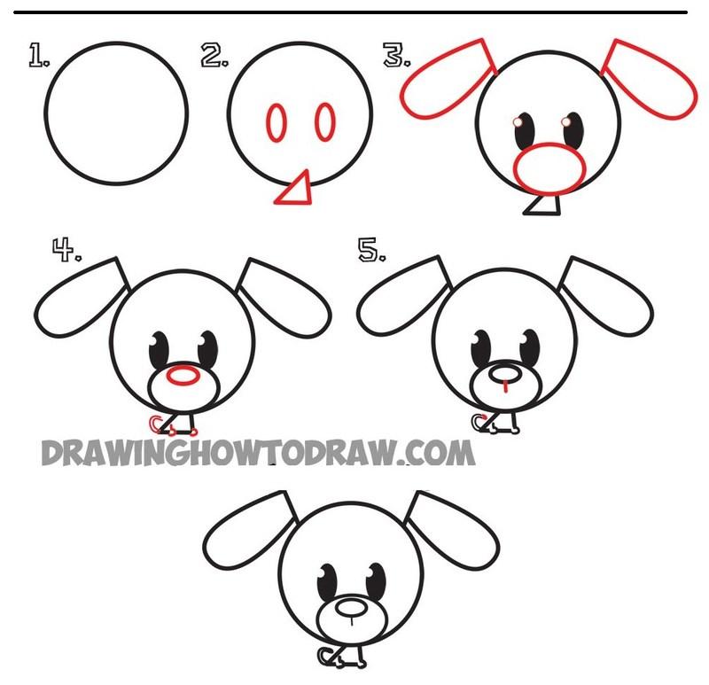 perros dibujo caricatura simple paso a paso perrito fácil