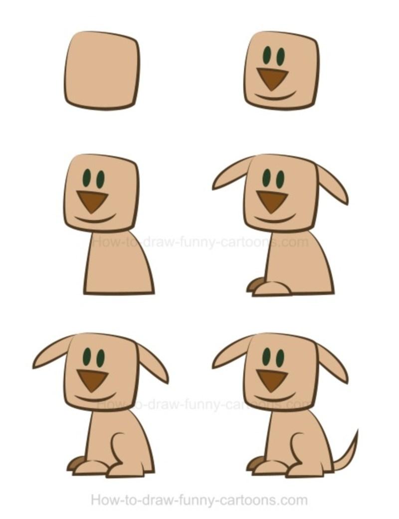 perros dibujo caricatura simple paso a paso perrito marrón