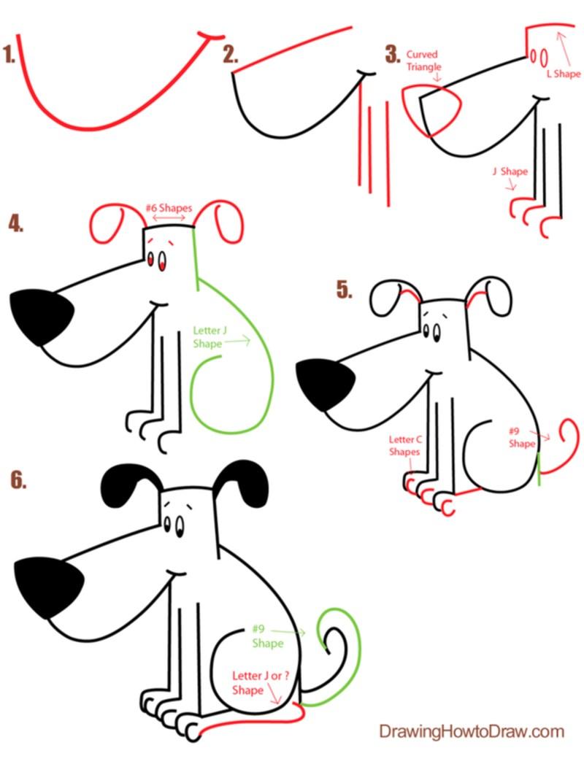 perros dibujo caricatura simple paso a paso genial para niños