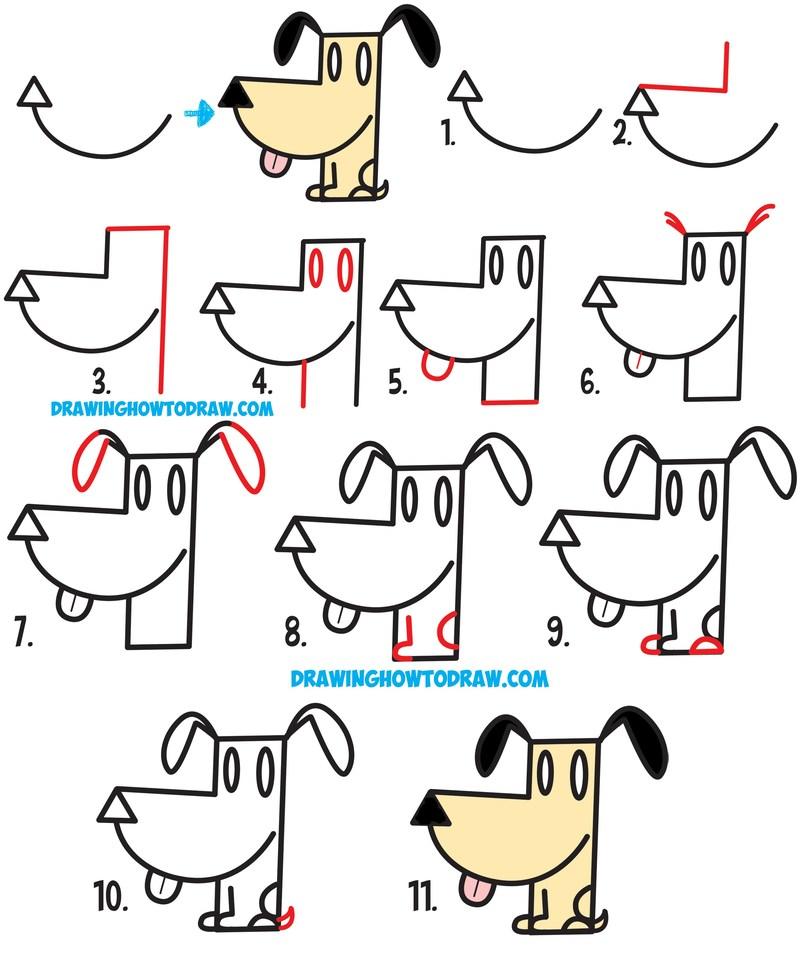 perros dibujo caricatura simple paso a paso perrito super fácil