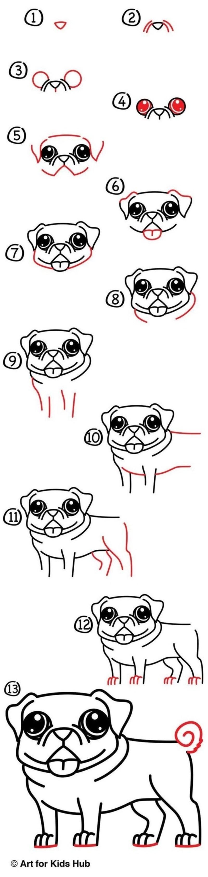 perros kawaii dibujos fáciles paso a paso a lápiz pug