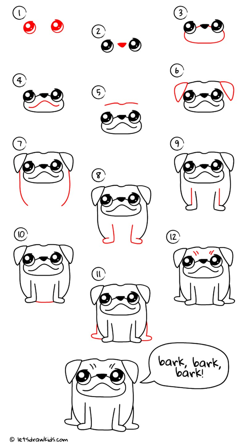 perros kawaii ladrando dibujos fáciles paso a paso a lápiz