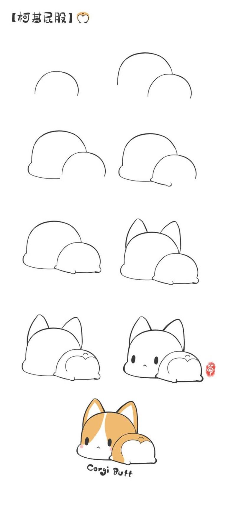 perros kawaii dibujos fáciles paso a paso a lápiz corgi