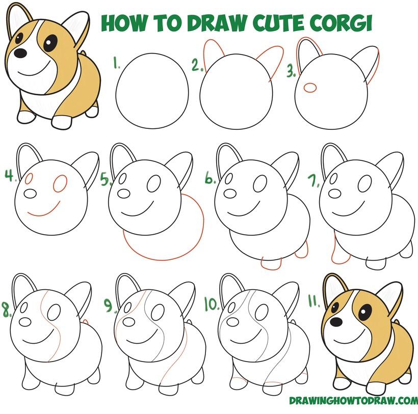 perros perritos dibujos faciles de corgi para hacer con niños paso a paso y pintar