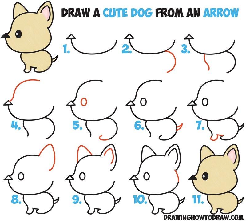 perros tiernos ddibujos fáciles paso a paso a lápiz para niños colorear