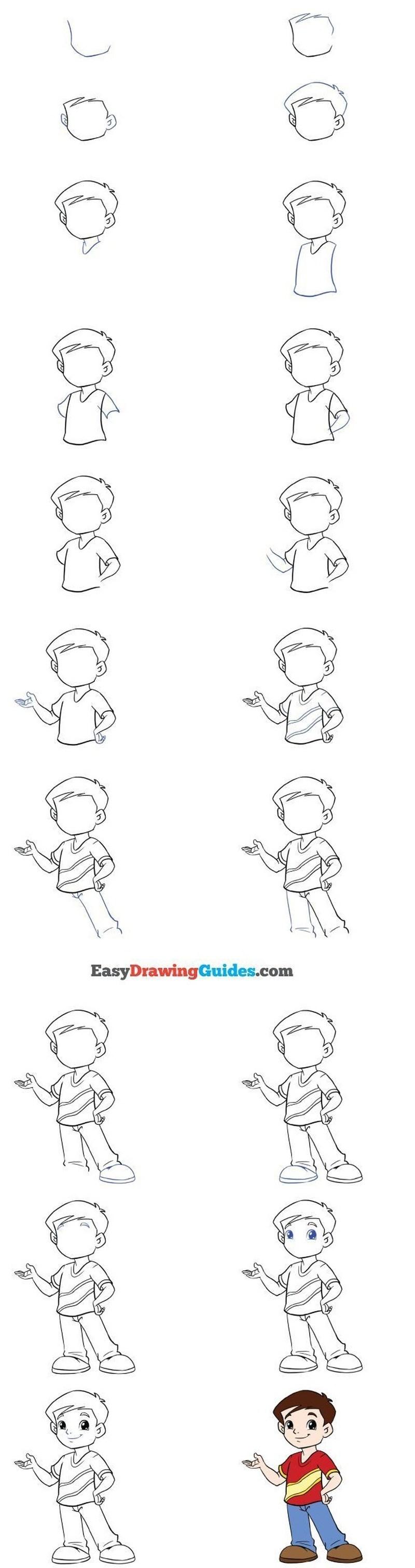 dibujos fáciles de personas paso a paso gente humanos a lápiz niño parado señalando