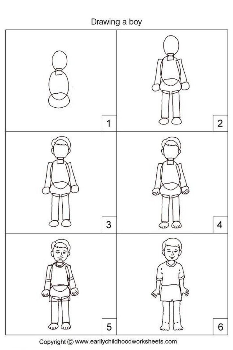 dibujos fáciles de personas paso a paso gente humanos a lápiz niño de pie parado