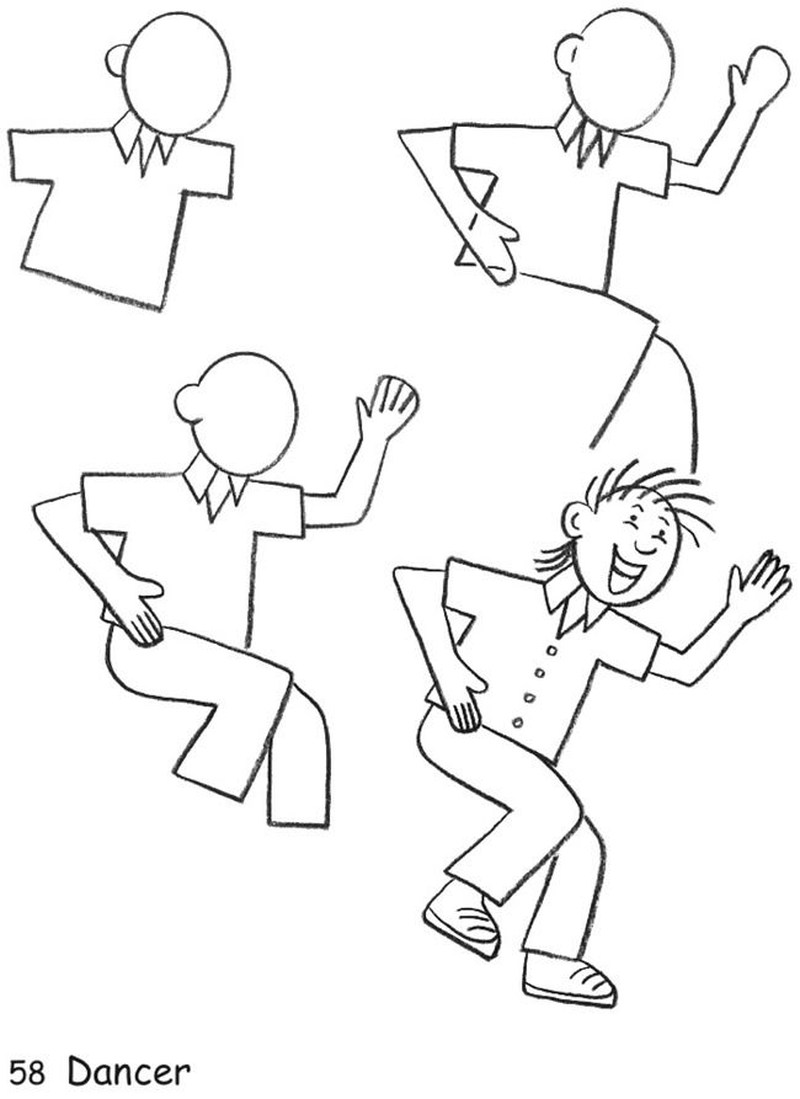 dibujos fáciles de personas paso a paso gente humanos a lápiz hombre bailando alegre