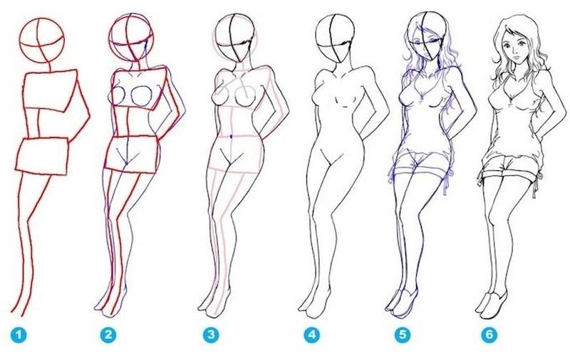 dibujos fáciles de personas paso a paso gente humanos a lápiz chica de pie señorita mujer
