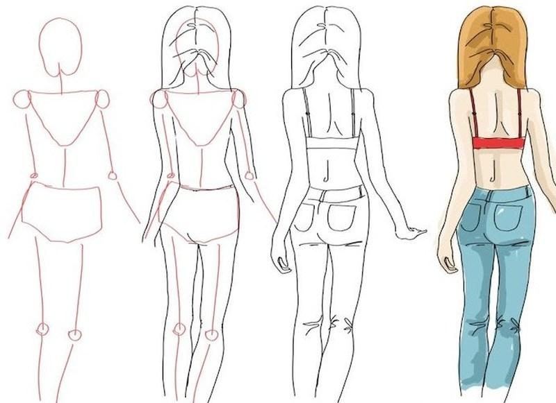 dibujos fáciles de mujeres paso a paso gente humanos a lápiz chica de espaldas mujer