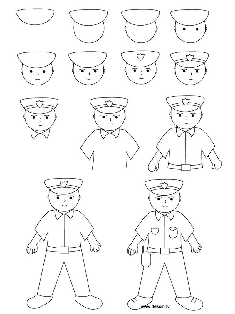 dibujos fáciles de persona paso a paso gente humanos a lápiz hombre policia de pie