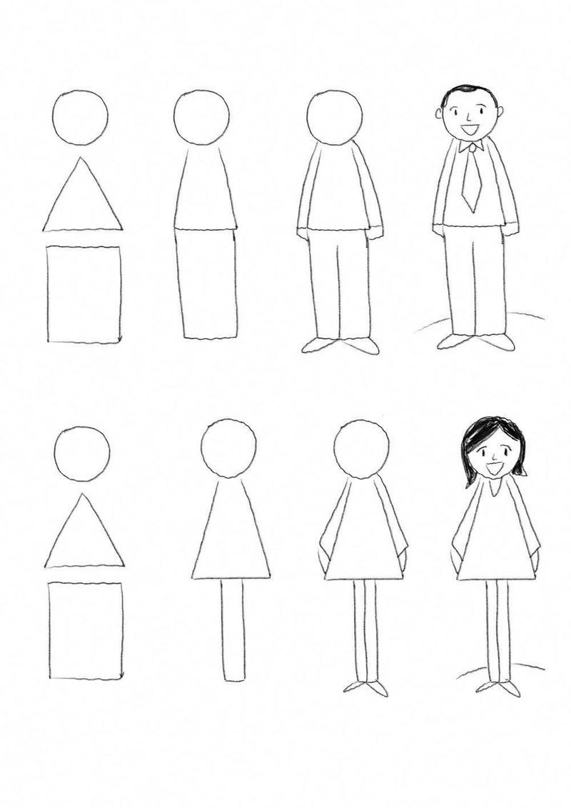 dibujos fáciles de personas paso a paso gente humanos a lápiz hombre y mujer de pie