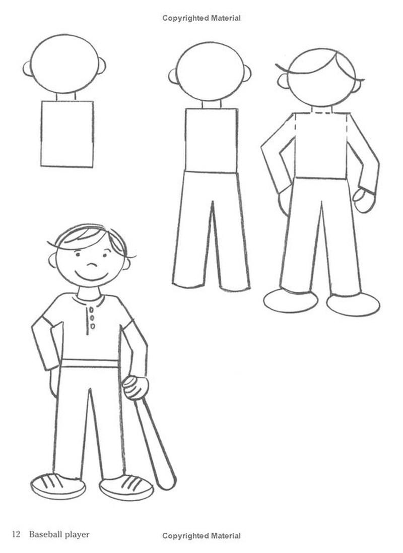 dibujos fáciles de persona paso a paso gente humanos a lápiz hombre jugador de baseball