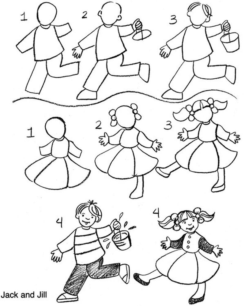 dibujos fáciles de personas paso a paso gente humanos a lápiz niña y niño en movimiento Jack and Jill