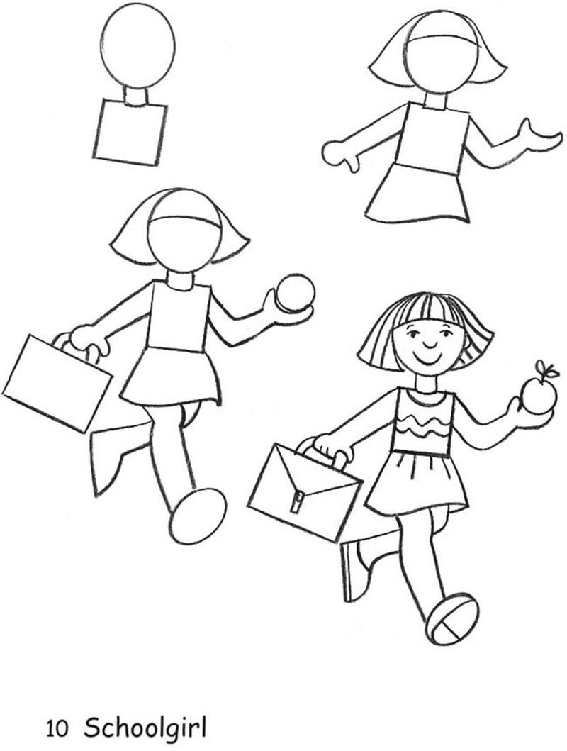 dibujos fáciles de personas paso a paso gente humanos a lápiz niña yendo a la escuela con maletín y manzana