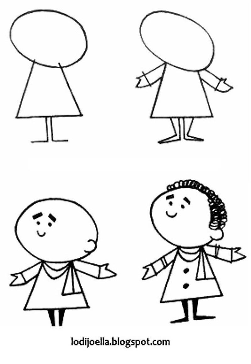 dibujos fáciles de persona paso a paso gente humanos a lápiz caricatura