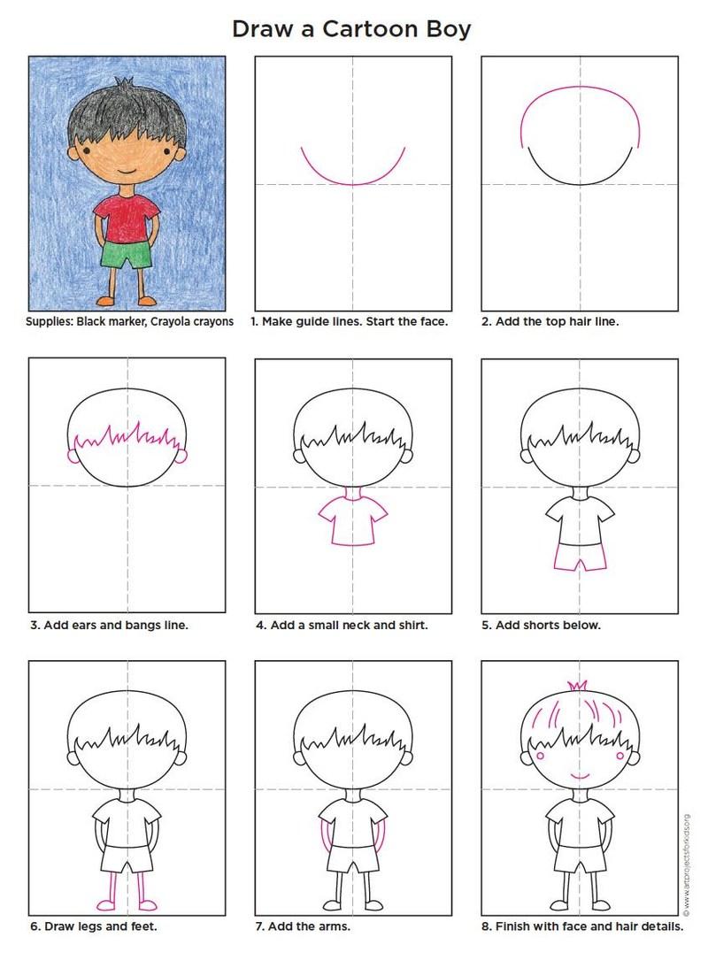 dibujos fáciles de personas paso a paso gente humanos a lápiz niño caricatura