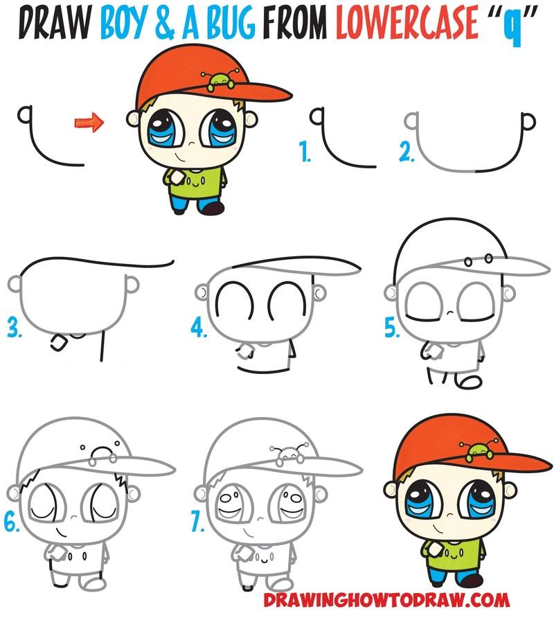 dibujos fáciles de persona paso a paso gente humanos a lápiz niño con gorra caricatura