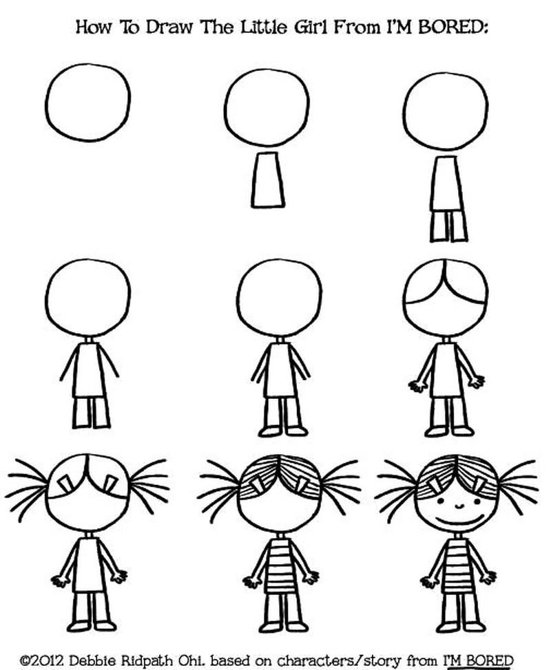 dibujos fáciles de personas paso a paso gente humanos a lápiz niña caricatura Estoy aburrida