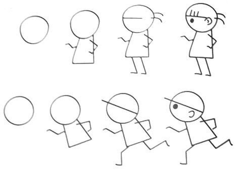 dibujos fáciles de persona paso a paso gente humanos a lápiz caricatura niño corriendo