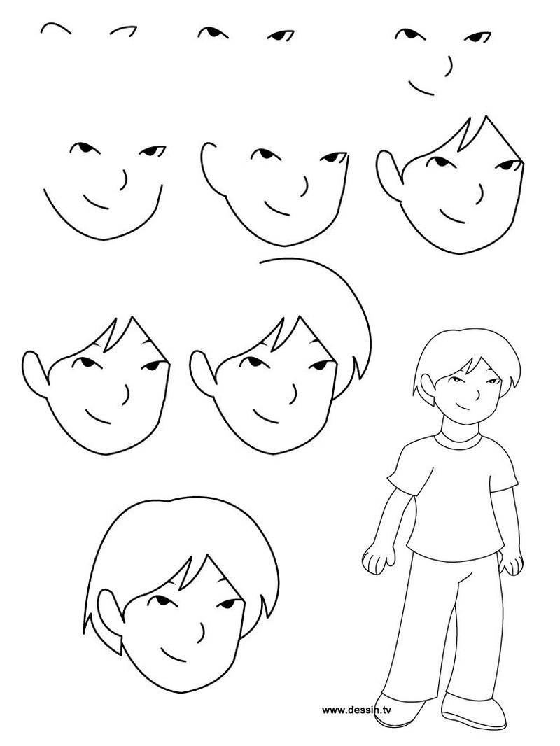 dibujos fáciles de personas paso a paso gente humanos a lápiz caras rostros detalles