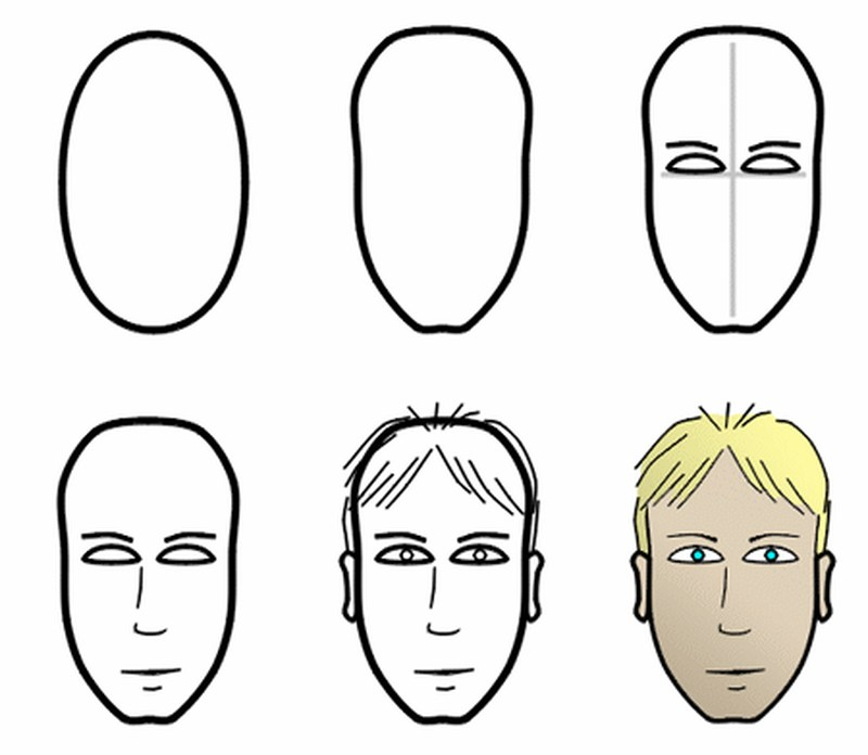 dibujos fáciles de caras de hombre  paso a paso gente humanos a lápiz rostro