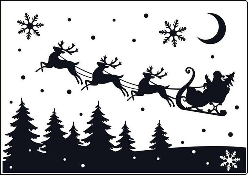 bocetos y siluetas de santa claus papa noel viejito pascuero para recortar con sus renos volando repartiendo regalos