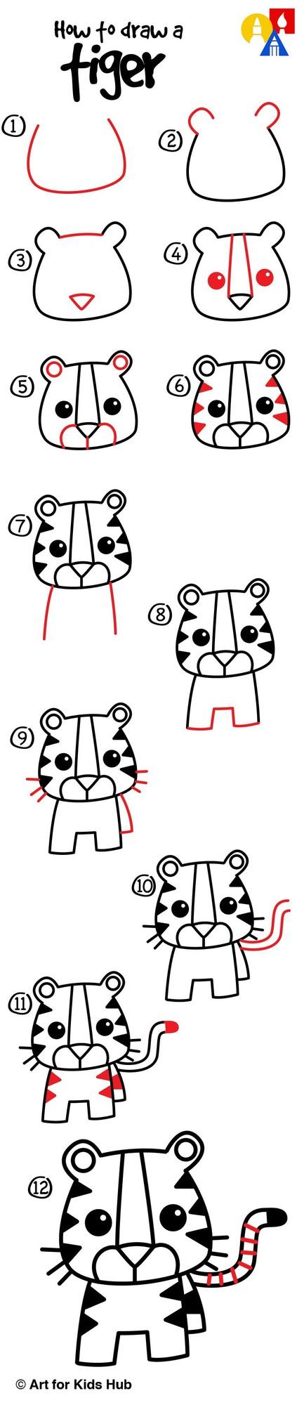 tigre tigres dibujos fáciles de animales para hacer a lápiz con niños paso a paso