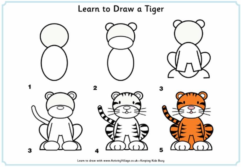 tigre tigres dibujos fáciles de animal salvaje para hacer a lápiz con niños paso a paso