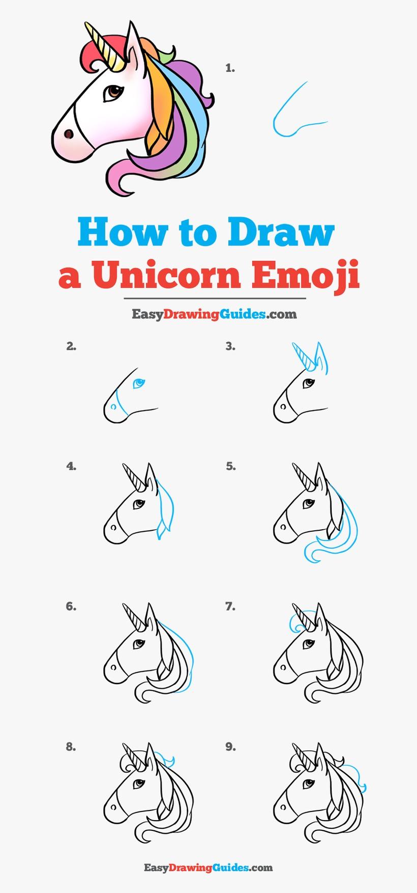 dibujos fáciles de emoji de unicornio  paso a paso