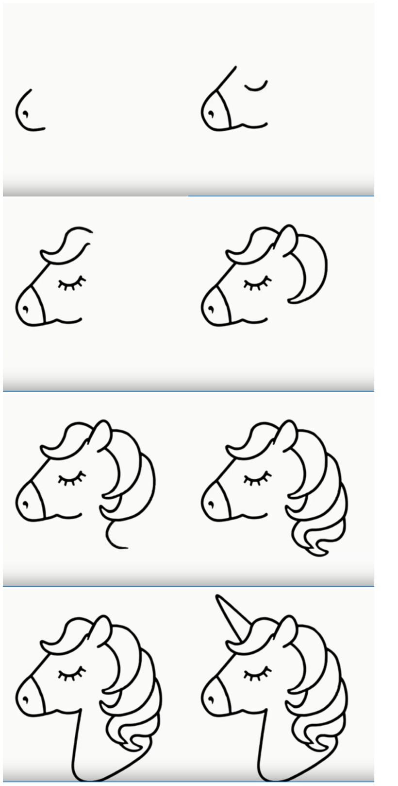 dibujos fáciles de unicornios para hacer con niños paso a paso cabeza