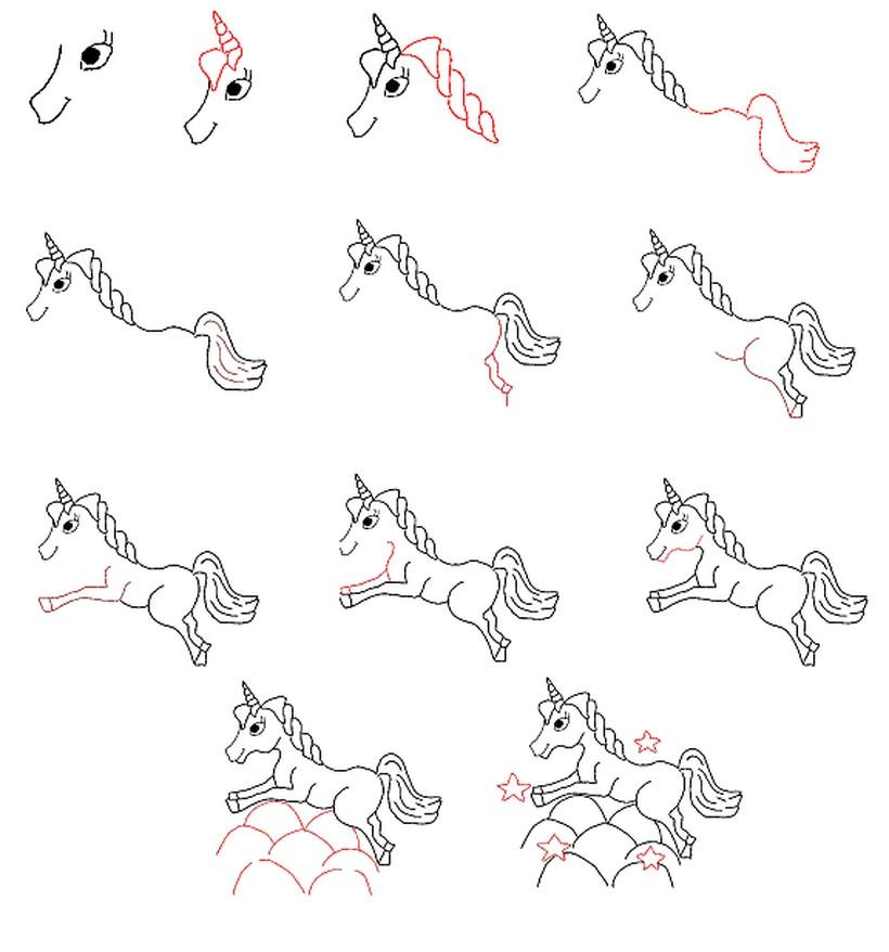 dibujo fácil de unicornio sobre nubes para hacer con niños paso a paso y colorear